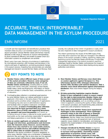 Accurate, timely, interoperable? Data management in the asylum procedure (inform)