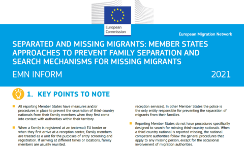 Separated and Missing Migrants: Member States Approaches to Prevent Family Separation and Search Mechanisms for Missing Migrants